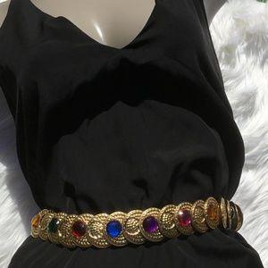 Vintage Gold Jeweled Medallion Metal Stretch Belt